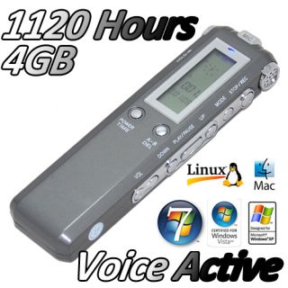 4GB 1120 Hours Portable Digital Voice Active Recorder DVR Dictaphone  WAV Act