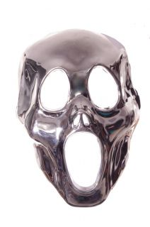 Silver Man Metallic Scream Ghost Monster Mask Costume Accessory Scary Mean New