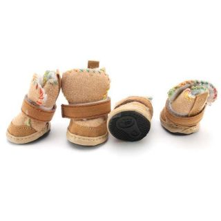 New Cute Khaki Brown Warm Walking Cozy Pet Dog Shoes Boots Santa Puppy Apparel
