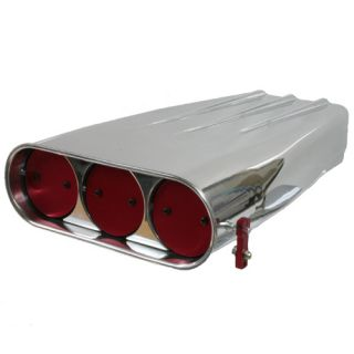 Polished Aluminum Single Four Barrel Blower Butterfly Scoop Air Cleaner 5 1 8""