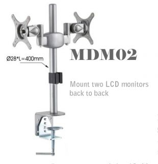 MDM02 Dual Monitor Stand Mount Two LCD Monitors Back to Back on Desktop New