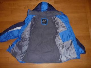 Boys Vertical '9 Blue Gray Puffer Jacket Winter Coat Hood Size Large 12 14