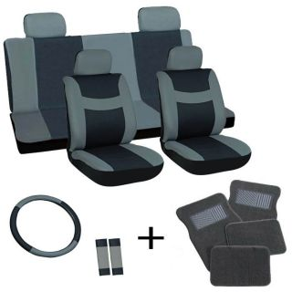 17pc Set Black Auto Car Seat Covers Wheel Belt Pad Head Rest Gray Floor Mat