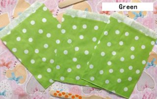 25 Pcs Green Polka Dot Treat Craft Bags Wedding Party Food Safe Favor Paper Bags