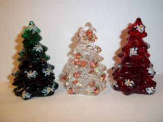 Mosser Glass Set of 3 Red Green Crystal Mini Christmas Trees Tree HP Poinsettias