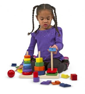 Melissa and Doug Geometric Stacker 25 Pieces Circle Square Octagon Wooden 567