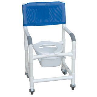 MJM International Standard Deluxe Shower Chair with Slide Out Commode Pail with Optional Accessories