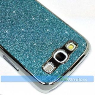 Light Blue Glitter Sparkle Bling Chrome Hard Case Cover Samsung Galaxy S3 I9300