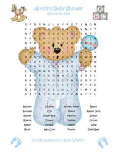 Teddy Bear Pastel Baby Shower Game Favor Pack 3