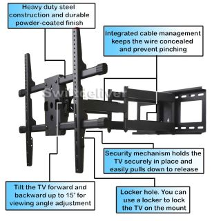 Articulating Full Motion Dual Arm Tilting LCD LED Plasma TV Wall Mount 32 65 1km