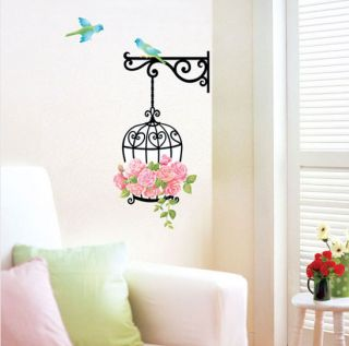 Flower Cage Birds Wall Stickers Home Decor Vinyl Decals