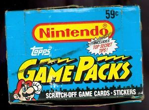 1989 Topps Nintendo Scratch Off Sticker Game Packs Wax Pack Box Trading Card Set