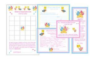 Care Bears Baby Shower Games Favors Pack 4