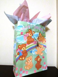 Baby Shower Glossy Gift Bag Wrap w Pink Blue Tissue Paper Extra Large New