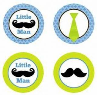 Mustache Little Man Party Edible Cupcake Toppers Decoration