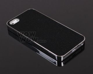 Black Glitter Sparkle Silver Bling Chrome Hard Snap Case Cover for iPhone 5 5g