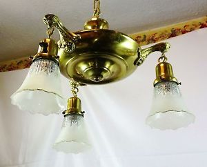 Art Deco Brass Pan 3 Light Chandelier Ceiling Fixture Beveled Glass Globes