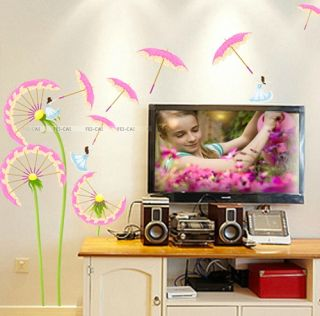 Pink Dandelion Flower Removable Wall Stickers Art Decor Decals Kids Home DIY B02