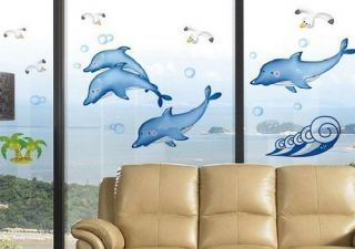 Blue Dolphins Removable Wall Stickers Window Bathroom Decor Decals Kids Room A30