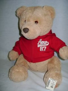 "13"" Plush Tan Aeropostale New w Tags 2010 Christmas Teddy Bear w Red Hoodie Aero"