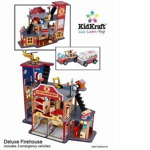 KidKraft Kids Boys Deluxe Fire House Fireman Rescue Pretend Play Set Truck Toy