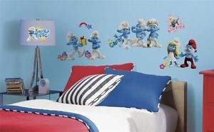 New The Smurfs 2 Movie Wall Decals 30 Wall Stickers Kids Toy Room Bedroom Decor