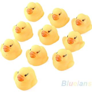10x Baby Kids Children Bath Toy Cute Rubber Race Squeaky Duck Ducky Yellow B81U