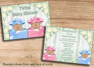 African American Twins Baby Shower Printable Invites Cheap JPEG Invitations