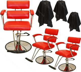 3 Professional Red Hydraulic Barber Chair Styling Hair Beauty Salon Equipment
