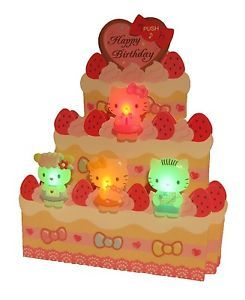 Hello Kitty Birthday Cake Lights Melody Pop Up Greeting Card Birthday Card