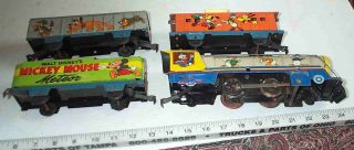 RARE Walt Disney Mickey Minnie Mouse Meteor Marx Wind Up Litho Tin Toy Train