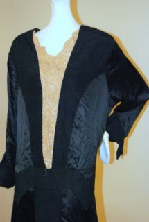 1920's Black China Silk Drop Waist Dress w Ecru Floral Lace