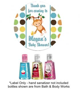 "20 Personalized 2"" Round Baby Shower Monkey Hand Sanitizer Travel Size Labels"