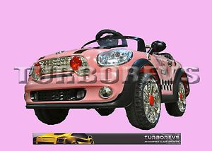 Pink Kids Electric Ride on Mini Cooper Toy Car Battery Parental Remote Control