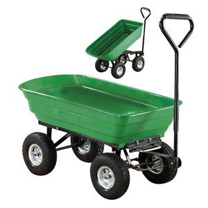 Heavy Duty Garden Tipping Cart Dump Truck Trailer Pneumatic Tyres Hand Trolley