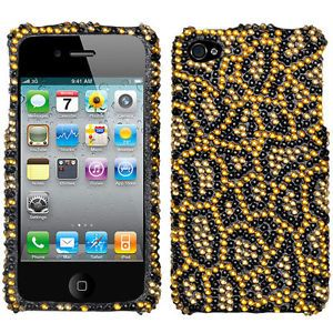 Gold Black Leopard Cheetah Print Diamond Bling Hard Case Cover iPhone 4 4G 4S
