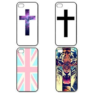 Fashion Cross Tiger UK Flag Black Side Case Hard Back Cover for iPhone 4 4S 5