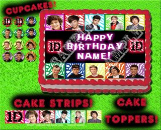 One Direction 3 Edible Cake Cupcake Tops Topper Image Picture Sugar Sticker
