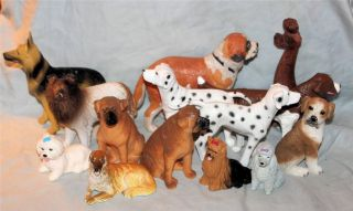 Vintage Lot of 14 Resin and Plastic Dog Figurines Toys Action Animals 4 Kids 70s