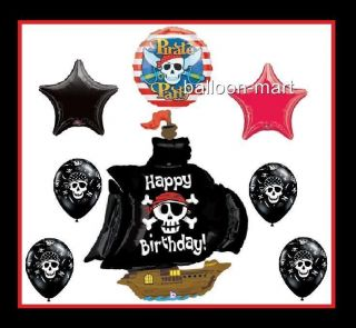 Pirate SHIP Balloons Skull Happy Birthday Party Decorations Supplies Black Kit