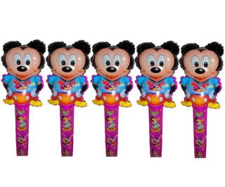 5pcs New Mickey Mouse Clapper Stick Happy Birthday Minnie Balloon Baby Shower