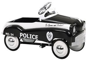 Kids Boys Black Ride on Toy Police Pedal Car