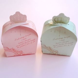 Wedding Party Baby Shower Favor Pink Green Crown Candy Boxes Gift Boxes