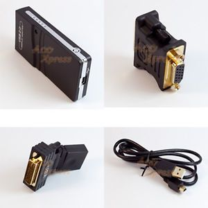 USB 2 0 Video Card External Graphic Adapter DVI VGA HDMI Monitor Mirror