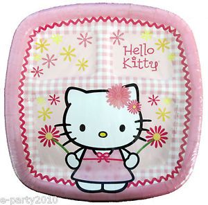 8 Hello Kitty Pink Large Pocket Plates RARE Birthday Party Supplies