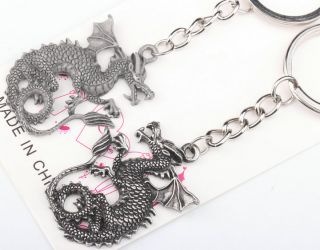 Lovely Sweet A Pair Pterosaur Dragon Lover Couple Metal Key Chain Keychains