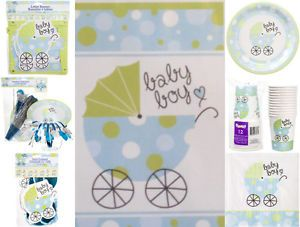 Blue Green Boy Baby Shower Decoration Set Party Supplies Kit