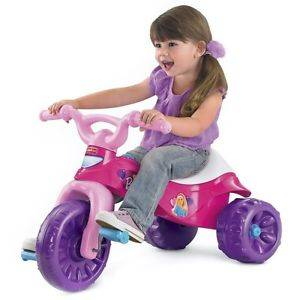 New Kids' 55 lb Capacity Girls Pink Barbie Design Tough Ride on Trike Tricycle