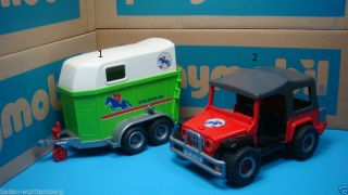 Playmobil 4189 Farm Series Red Covered Jeep Green Horse Trailer geobra Toy 209