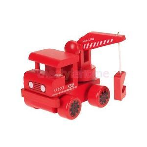 Solid Cute Wooden Crane Truck Tractor Construction Toy for Kids Non Toxic Paint
